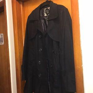 Navy blue pleated bottom coat